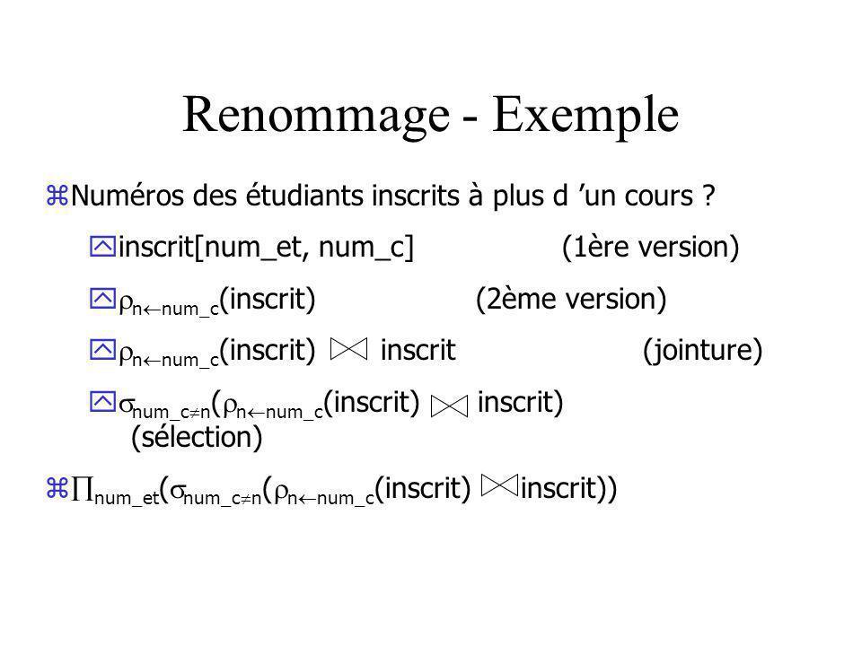 Renommage - Exemple Numéros des étudiants inscrits à plus d 'un cours inscrit[num_et, num_c] (1ère version)
